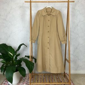 Vintage Tan Rounded Collar Tailored Long Coat